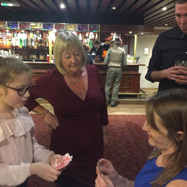 York Party Magician - My latest young assistant and one of many spectators she tried the trick on