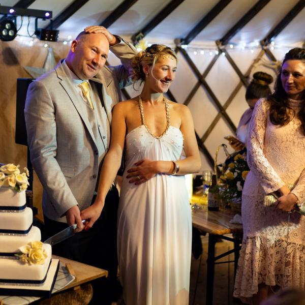 Wedding magician at Sarah and Rob's wedding at Salix Yurts, York 2