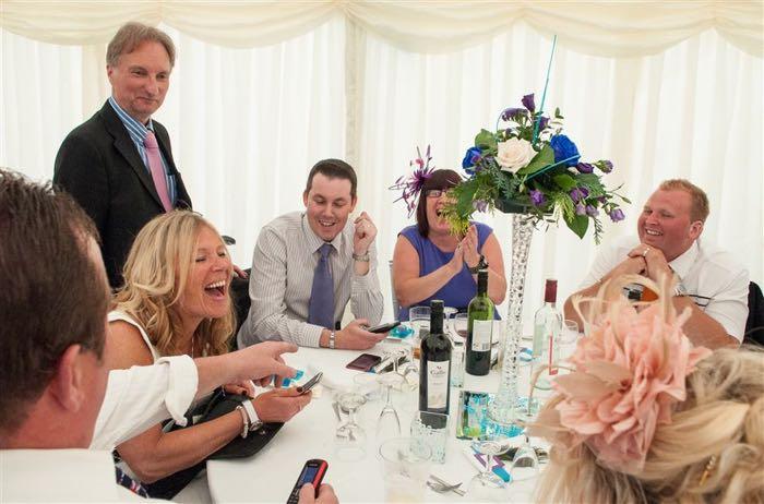 Magician at Karen and Justin's wedding